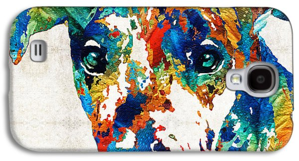 Dog Pop Art Galaxy S4 Cases - Colorful Great Dane Art Dog By Sharon Cummings Galaxy S4 Case by Sharon Cummings