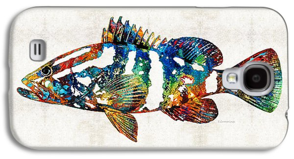 Colorful Grouper 2 Art Fish By Sharon Cummings Galaxy S4 Case by Sharon Cummings