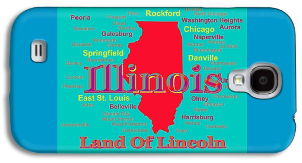 Normal Galaxy S4 Cases - Colorful Illinois State Pride Map Silhouette  Galaxy S4 Case by Keith Webber Jr