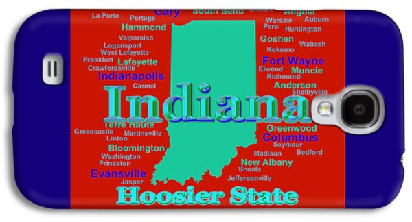 Evansville Galaxy S4 Cases - Colorful Indiana State Pride Map Silhouette  Galaxy S4 Case by Keith Webber Jr