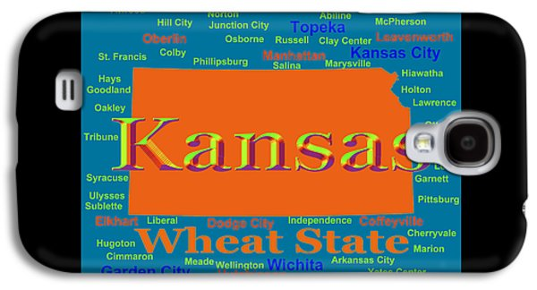 Manhatten Galaxy S4 Cases - Colorful Kansas State Pride Map Silhouette  Galaxy S4 Case by Keith Webber Jr
