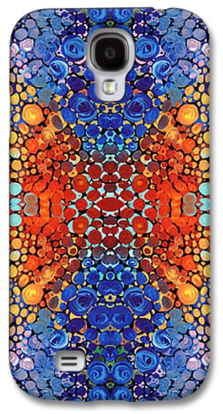 Patterned Mixed Media Galaxy S4 Cases - Colorful Layers Vertical - Abstract Art By Sharon Cummings Galaxy S4 Case by Sharon Cummings