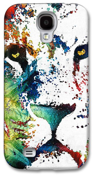 Brown Print Galaxy S4 Cases - Colorful Lion Art By Sharon Cummings Galaxy S4 Case by Sharon Cummings