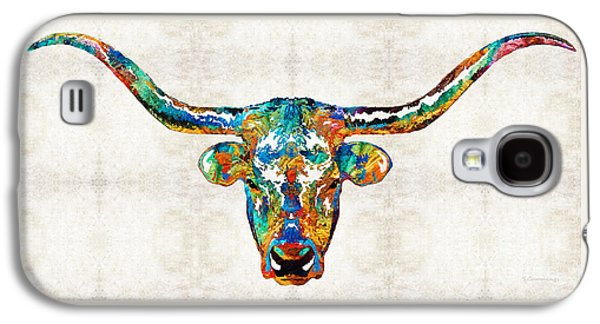 Chicago Bulls Galaxy S4 Cases - Colorful Longhorn Art By Sharon Cummings Galaxy S4 Case by Sharon Cummings