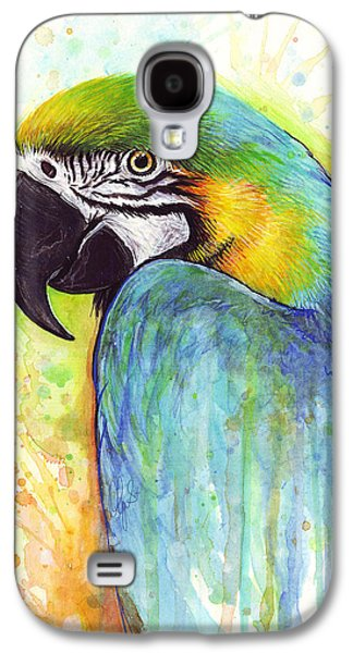 Animals Mixed Media Galaxy S4 Cases - Colorful Macaw Parrot Painting Galaxy S4 Case by Olga Shvartsur