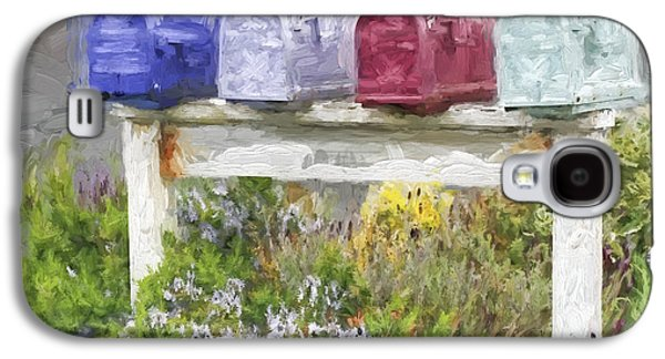 Mail Box Galaxy S4 Cases - Colorful Mailboxes and Flowers Painterly Effect Galaxy S4 Case by Carol Leigh