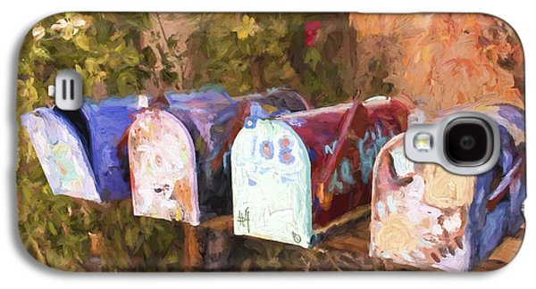Mail Box Galaxy S4 Cases - Colorful Mailboxes Santa Fe Painterly Effect Galaxy S4 Case by Carol Leigh