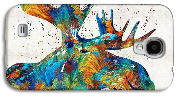 Laugh Paintings Galaxy S4 Cases - Colorful Moose Art - Confetti - By Sharon Cummings Galaxy S4 Case by Sharon Cummings