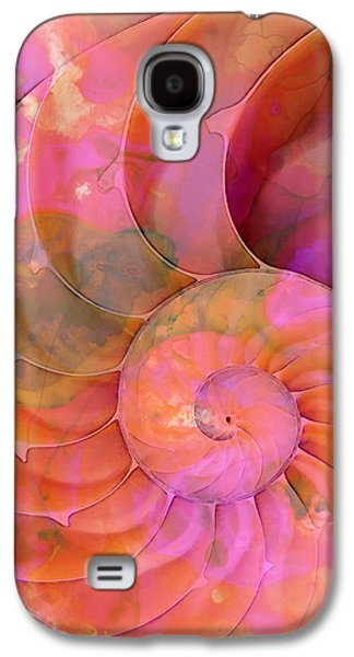 Orange Mixed Media Galaxy S4 Cases - Colorful Nautilus Shell By Sharon Cummings Galaxy S4 Case by Sharon Cummings