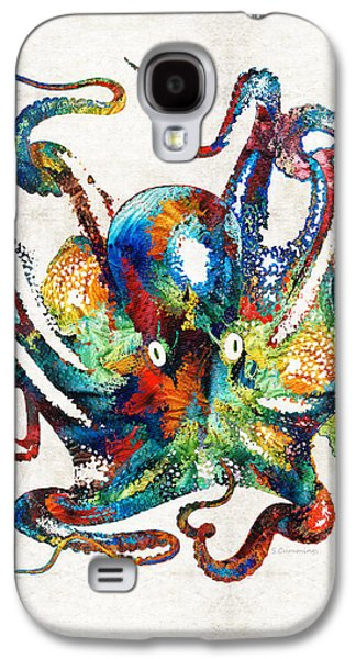 Rainbow Galaxy S4 Cases - Colorful Octopus Art by Sharon Cummings Galaxy S4 Case by Sharon Cummings