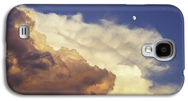 Stormy Weather Galaxy S4 Cases - Colorful Orange Magenta Storm Clouds Moon At Sunset Galaxy S4 Case by Keith Webber Jr
