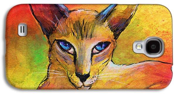 Impressionism Mixed Media Galaxy S4 Cases - Colorful Oriental shorthair Cat painting Galaxy S4 Case by Svetlana Novikova