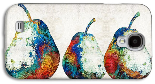 Pear Art Galaxy S4 Cases - Colorful Pear Art - Three Pears - By Sharon Cummings Galaxy S4 Case by Sharon Cummings