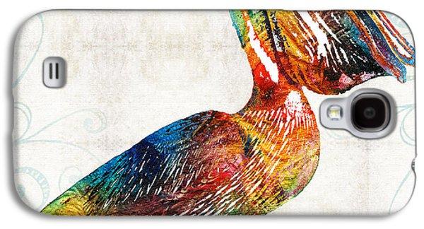 California Beach Art Galaxy S4 Cases - Colorful Pelican Art 2 by Sharon Cummings Galaxy S4 Case by Sharon Cummings