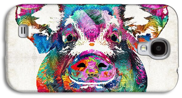 Farm Galaxy S4 Cases - Colorful Pig Art - Squeal Appeal - By Sharon Cummings Galaxy S4 Case by Sharon Cummings