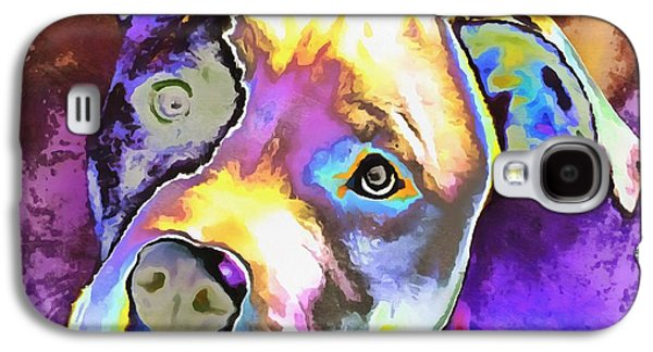 Innocence Mixed Media Galaxy S4 Cases - Colorful Pit Bull  Galaxy S4 Case by Dan Sproul