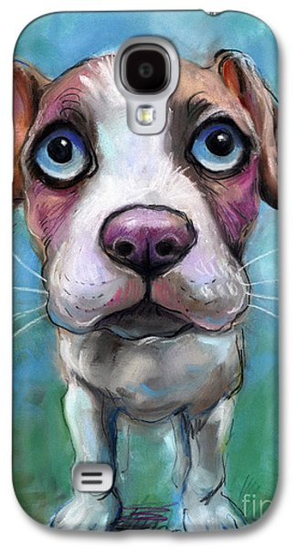 Cute Puppy Galaxy S4 Cases - Colorful pit bull puppy with blue eyes painting  Galaxy S4 Case by Svetlana Novikova