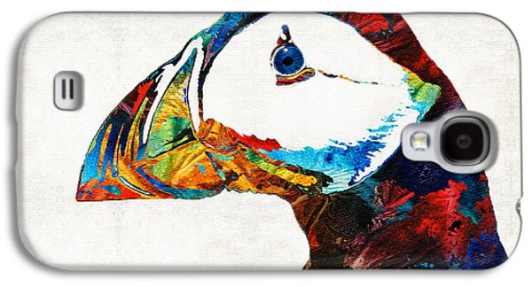Maine Paintings Galaxy S4 Cases - Colorful Puffin Art By Sharon Cummings Galaxy S4 Case by Sharon Cummings