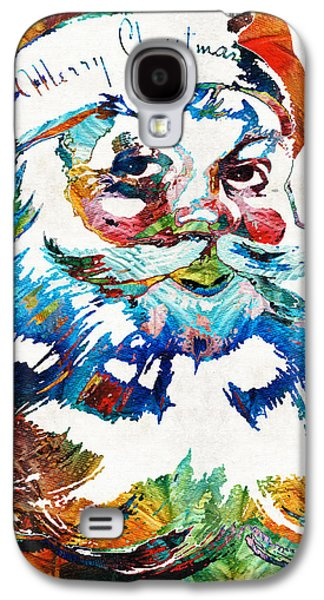 Winter Fun Paintings Galaxy S4 Cases - Colorful Santa Art by Sharon Cummings Galaxy S4 Case by Sharon Cummings