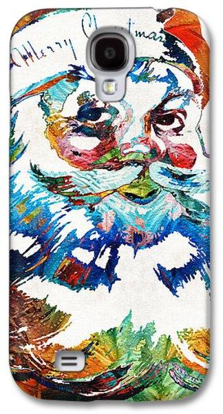 Christmas Art Galaxy S4 Cases - Colorful Santa Art by Sharon Cummings Galaxy S4 Case by Sharon Cummings