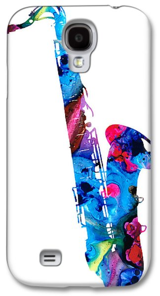 Music Mixed Media Galaxy S4 Cases - Colorful Saxophone 2 by Sharon Cummings Galaxy S4 Case by Sharon Cummings