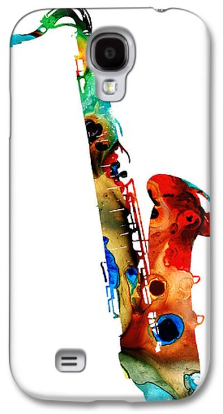 Print Mixed Media Galaxy S4 Cases - Colorful Saxophone by Sharon Cummings Galaxy S4 Case by Sharon Cummings