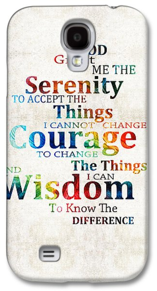 Courage Paintings Galaxy S4 Cases - Colorful Serenity Prayer by Sharon Cummings Galaxy S4 Case by Sharon Cummings