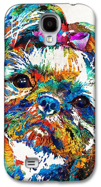 Puppies Galaxy S4 Cases - Colorful Shih Tzu Dog Art by Sharon Cummings Galaxy S4 Case by Sharon Cummings