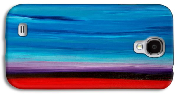 Abstract Landscape Galaxy S4 Cases - Colorful Shore - Blue And Red Abstract Painting Galaxy S4 Case by Sharon Cummings