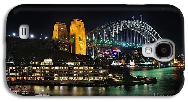Waterscape Galaxy S4 Cases - Colorful Sydney Harbour Bridge by Night 2 Galaxy S4 Case by Kaye Menner