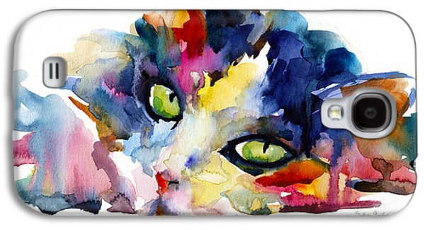 Texas Artist Galaxy S4 Cases - Colorful Tubby cat painting Galaxy S4 Case by Svetlana Novikova