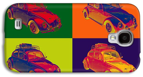 Punch Digital Art Galaxy S4 Cases - Colorful Volkswagen beetle Punch Buggy Modern Pop Art Galaxy S4 Case by Keith Webber Jr