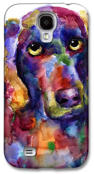 Puppies Galaxy S4 Cases - Colorful Weimaraner Dog art painted portrait painting Galaxy S4 Case by Svetlana Novikova