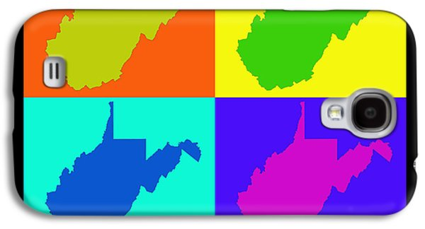 West Digital Art Galaxy S4 Cases - Colorful West Virginia Pop Art Map Galaxy S4 Case by Keith Webber Jr