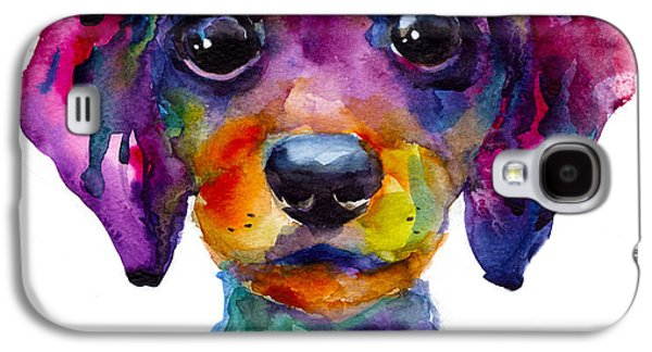 Cute Puppy Galaxy S4 Cases - Colorful whimsical Daschund Dog puppy art Galaxy S4 Case by Svetlana Novikova