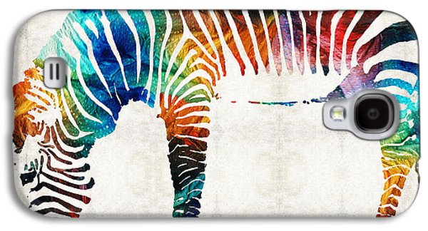 Stripes Paintings Galaxy S4 Cases - Colorful Zebra Art by Sharon Cummings Galaxy S4 Case by Sharon Cummings