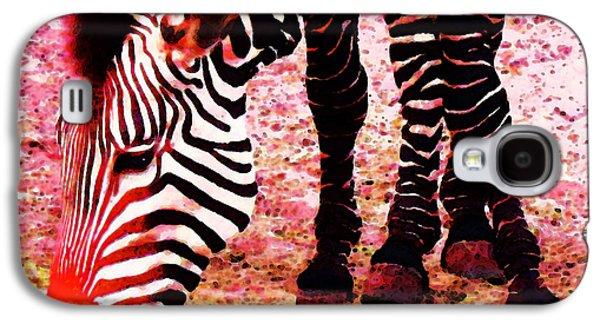 Zebra Digital Art Galaxy S4 Cases - Colorful Zebra - Buy Black And White Stripes Art Galaxy S4 Case by Sharon Cummings