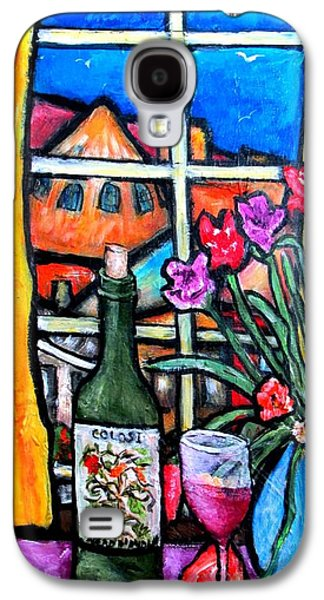 """""""indoor"""" Still Life Paintings Galaxy S4 Cases - Colosi wine with flowers Galaxy S4 Case by Chaline Ouellet"""