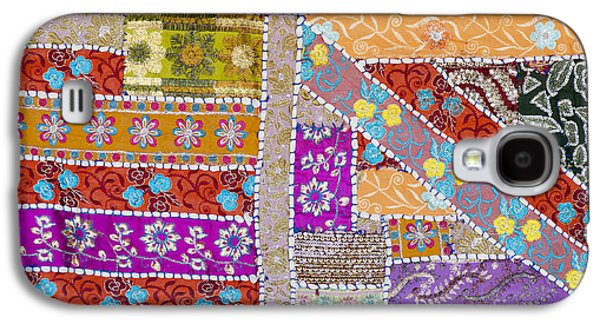 Stitch Galaxy S4 Cases - Colourful Indian patchwork wall hanging Galaxy S4 Case by Tim Gainey