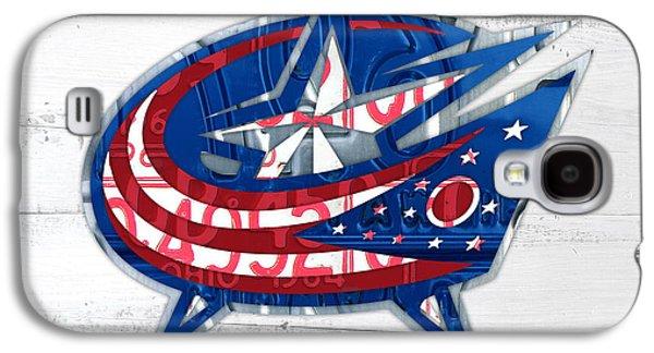 Hockey Mixed Media Galaxy S4 Cases - Columbus Bluejackets Retro Hockey Team Logo Recycled Ohio License Plate Art Galaxy S4 Case by Design Turnpike