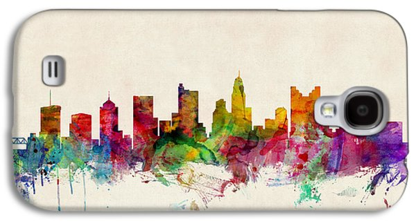 Cityscape Digital Galaxy S4 Cases - Columbus Ohio Skyline Galaxy S4 Case by Michael Tompsett