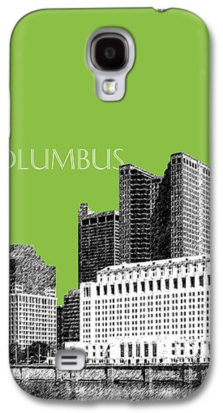 Olive Green Galaxy S4 Cases - Columbus Ohio Skyline - Olive Galaxy S4 Case by DB Artist