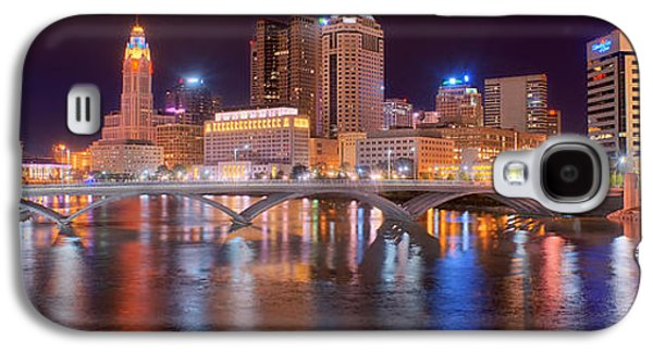 City Scene Galaxy S4 Cases - Columbus Skyline at Night Color Panorama Ohio Galaxy S4 Case by Jon Holiday