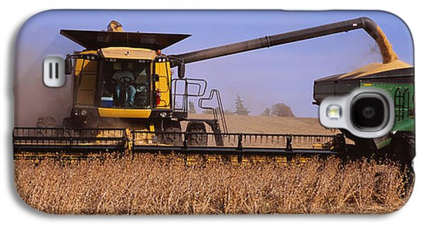 Machinery Galaxy S4 Cases - Combine Harvesting Soybeans In A Field Galaxy S4 Case by Panoramic Images