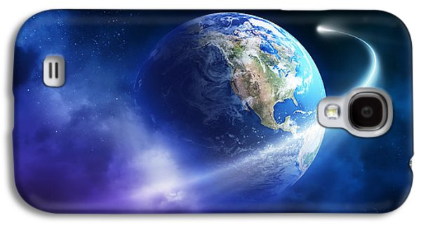 Purple Art Galaxy S4 Cases - Comet moving passing planet earth Galaxy S4 Case by Johan Swanepoel