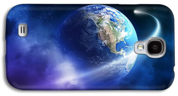 Orbit Galaxy S4 Cases - Comet moving passing planet earth Galaxy S4 Case by Johan Swanepoel
