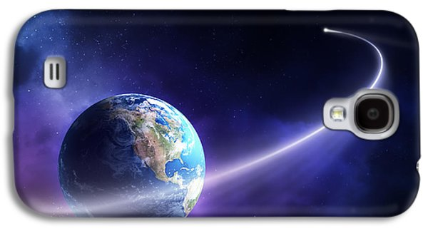 Purple Art Galaxy S4 Cases - Comet moving past planet earth Galaxy S4 Case by Johan Swanepoel