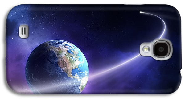 Orbit Galaxy S4 Cases - Comet moving past planet earth Galaxy S4 Case by Johan Swanepoel
