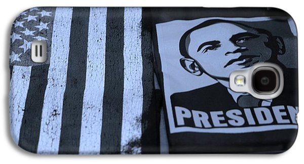 Barack Obama Galaxy S4 Cases - COMMERCIALIZATION OF THE PRESIDENT OF THE UNITED STATES in CYAN Galaxy S4 Case by Rob Hans