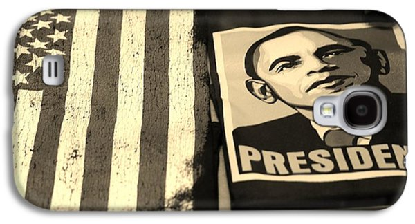 Barack Obama Galaxy S4 Cases - COMMERCIALIZATION OF THE PRESIDENT OF THE UNITED STATES in SEPIA Galaxy S4 Case by Rob Hans